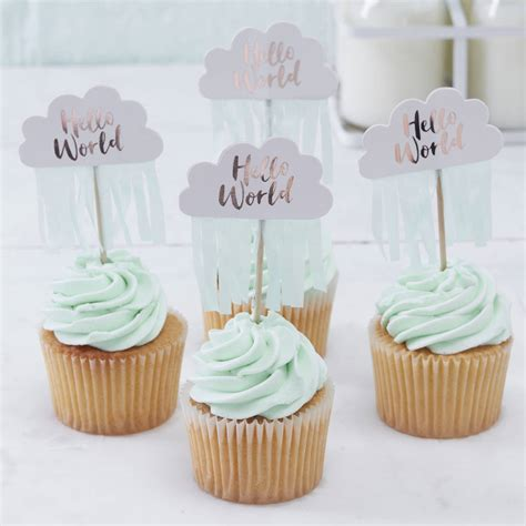 Cupcakes For A Baby Shower by Gold Cloud Shaped Baby Shower Cupcake Toppers By