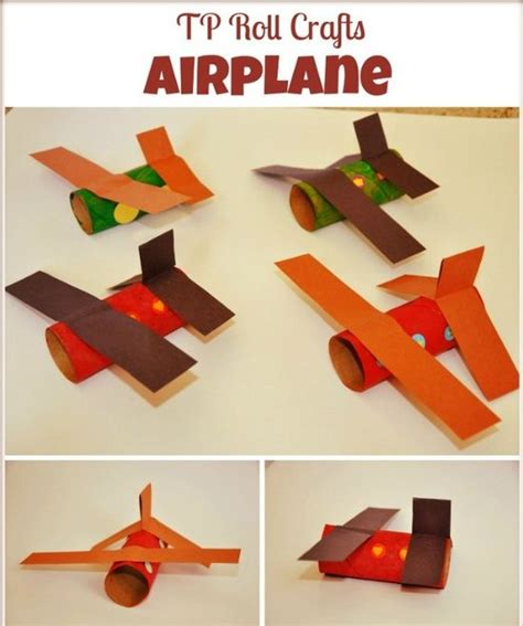Paper Airplane Craft - toilet paper rolls upcycled into planes teach your