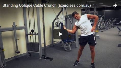 standing oblique cable crunch expert  min   video
