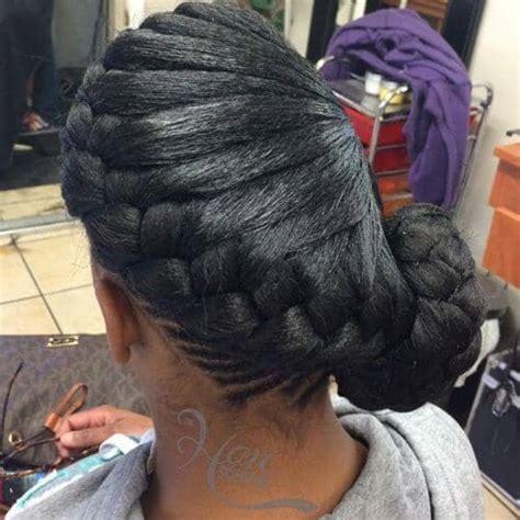 french braid bun hairstyles  black women shopping