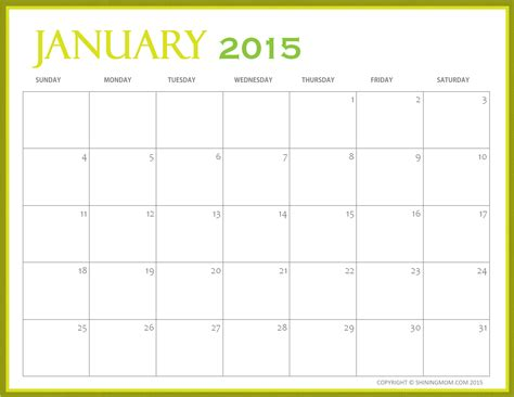 printable monthly calendar january 2015 free printable january 2015 calendars