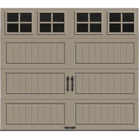 clopay gallery collection 8 ft clopay gallery collection 8 ft x 7 ft 18 4 r value intellicore insulated sandtone garage door