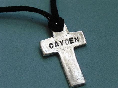 boys personalized silver cross necklace