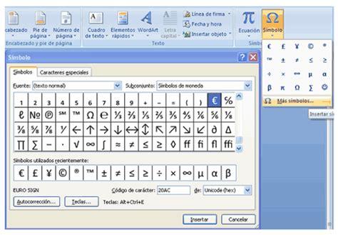 como insertar imagenes y simbolos en word insertar un s 237 mbolo o un car 225 cter especial en word 2007