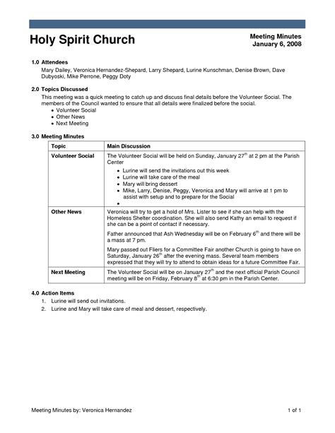 church minutes template best photos of church meeting minutes outline church