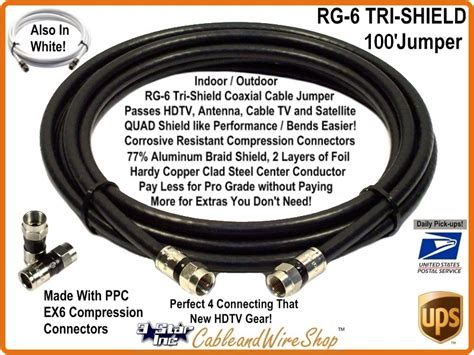 100 foot tv cable rg6 coax 100 ft patch cable jumper with f type connector