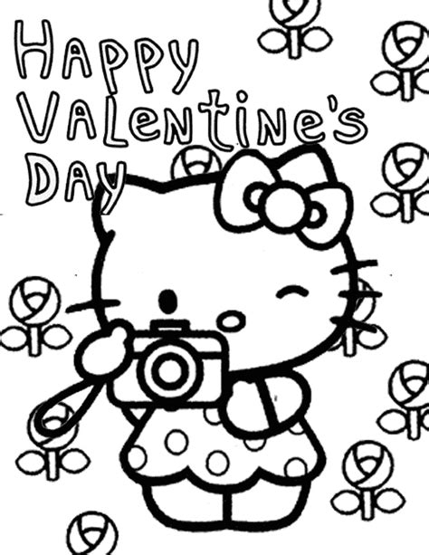 hello kitty with flowers coloring pages hello kitty and flowers valentines coloring page h m