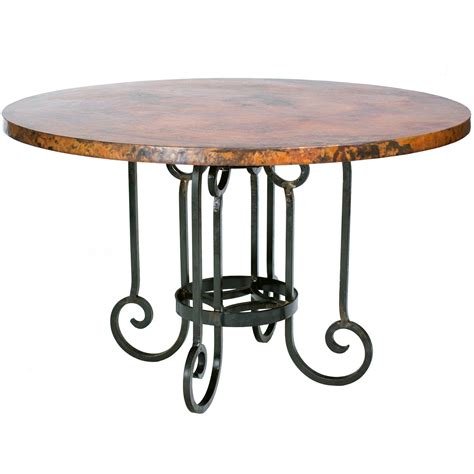 round copper table top curled leg iron dining table with 60 quot round hammered