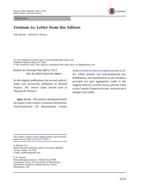 (PDF) Erratum to: Letter from the Editors
