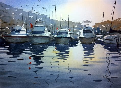 water boat watercolour demonstration how to paint boats water and