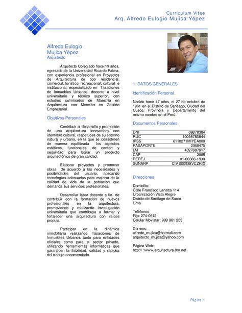 Modelo De Un Curriculum Vitae Peru Curriculum Vitae By Alfredo Mujica Issuu