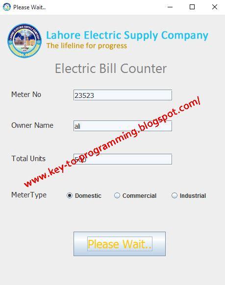 auto electric bill calculator system gui complete power