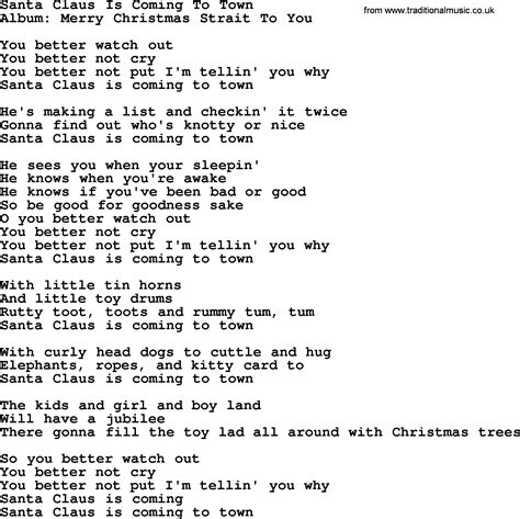 printable lyrics for santa claus is coming to town santa claus is coming to town by george strait lyrics