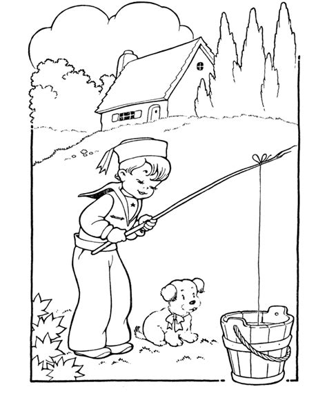 coloring page of boy fishing fishing coloring page az coloring pages