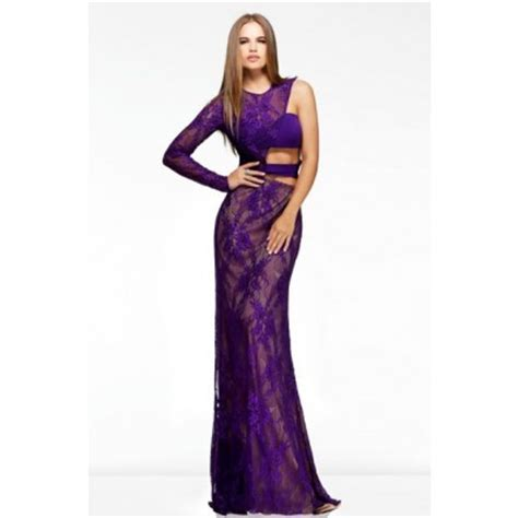 slim one sleeve side cut out purple lace
