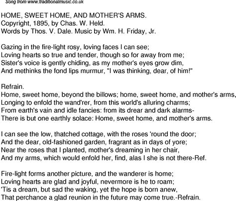 time song lyrics for 50 home sweet home and mothers arms