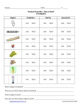sink or float worksheet sink or float worksheets by amanda s elementary