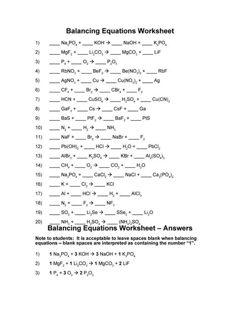 Balancing Chemical Equations Worksheet Key by Balancing Equations Worksheet Key Photos Getadating