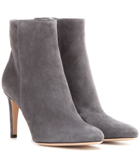 grey suede ankle boots gianvito stilo suede ankle boots in gray grey lyst