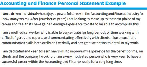 accounting and finance personal statement exle forums learnist org