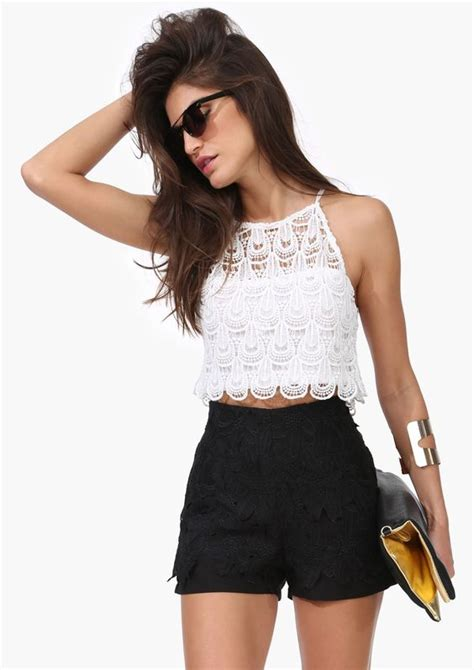 white crop top well i guess it is black high waist shorts