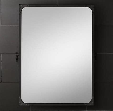 industrial metal bathroom industrial rivet aged steel mirror pivot in polished