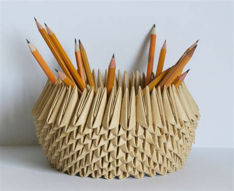 Origami Pencil Holder - paper bowl paper anniversary origami pencil holder