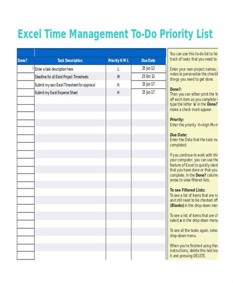 time management to do list template 30 task list format