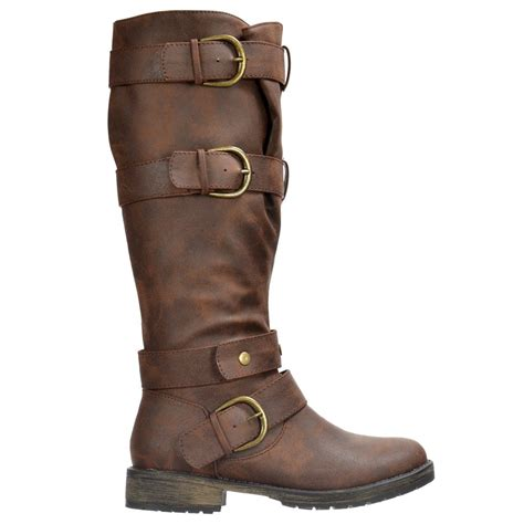 dolcis biker boots knee high with buckles and studs