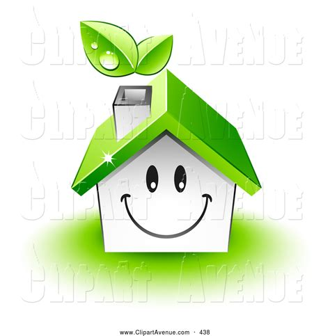the happy house avenue clipart of a friendly smiling happy house character with a green roof and leaves emerging from the chimney by beboy 438
