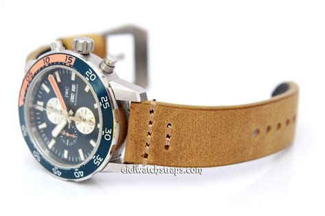 Handmade Leather Watches - 22mm handmade aged genuine leather for iwc