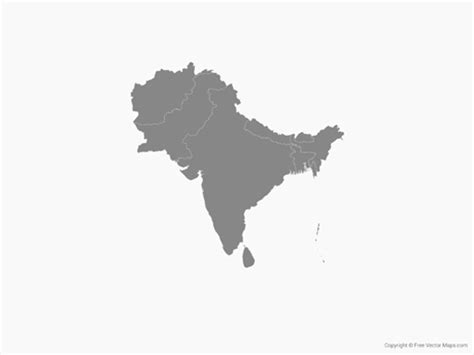 Free Asia Outline Map Vector by Vector Map Of South Asia With Countries Single Color Free Vector Maps
