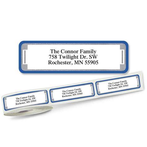butterflies designer rolled return address labels blue and silver frame designer rolled return address