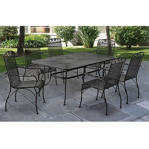 Black Wrought Iron Patio Furniture Sets Jefferson Wrought Iron 7 Patio Dining Set Seats 6 Walmart