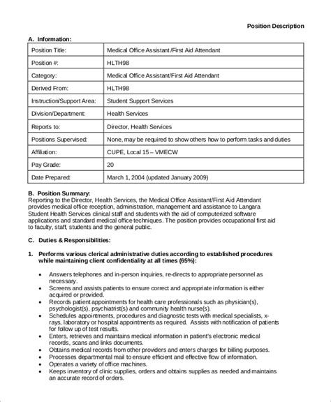 sle medical assistant job description 8 exles in pdf