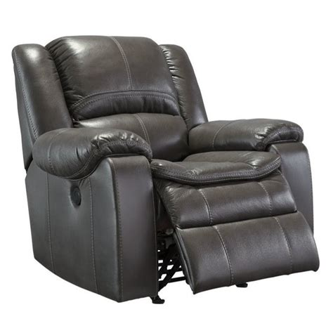 Gray Leather Rocker Recliner Faux Leather Power Rocker Recliner In