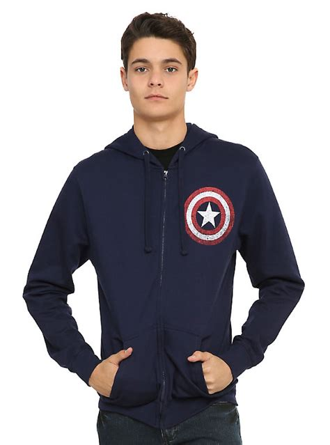 Sweater Captain Hoodie Black marvel captain america shield hoodie topic