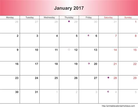 printable january 2017 calendar january 2017 calendar 6 templates landscape printable
