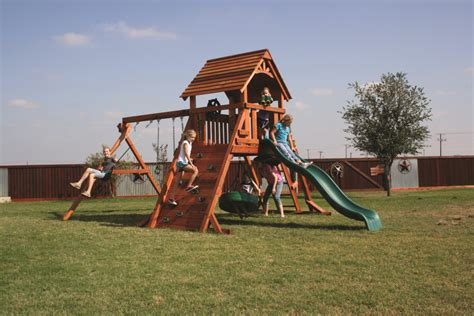 backyard fun factory wooden swing sets