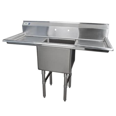 two sinks one drain regency 54 quot 16 gauge stainless steel one compartment