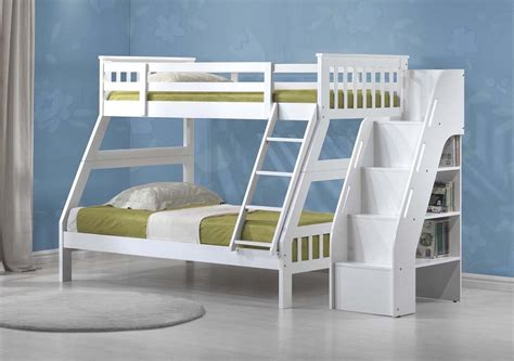 Bookshelf Bunk Bed Jason White Solid Wood Bunk Bed Bookcase Ladder