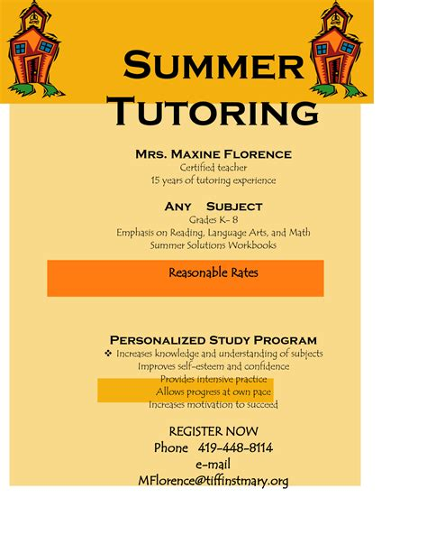 flyer for tutoring services offers community programs