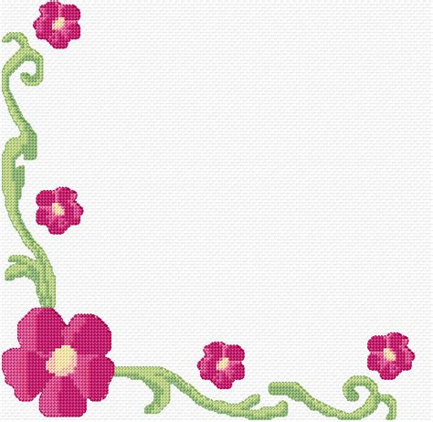 Flower With Chart Paper - cross stitch floral border 3 xstitch chart design