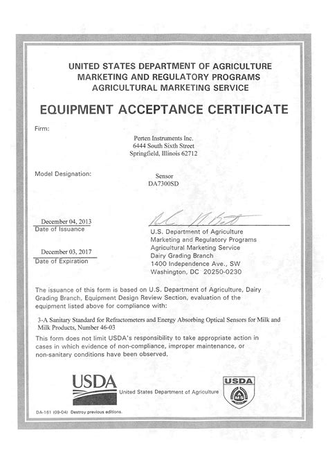 Acceptance Letter Publication The Da 7300 Sd Receives Usda Dairy Letter Of Acceptance Perten Instruments