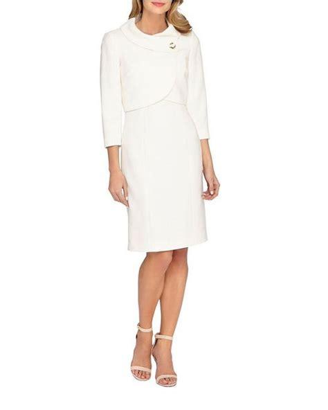 set blazer dan dress tahari two jacket and dress set in white lyst