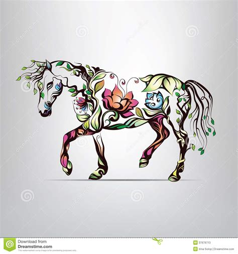 Butterfly Wall Art Stickers horse silhouette of floral ornament stock photos image