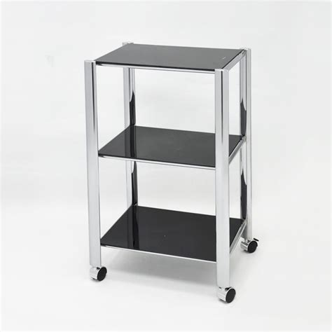 Bathroom Storage Trolley 3 Tier Bathroom Storage Four Wheel Glass Shelf Trolley