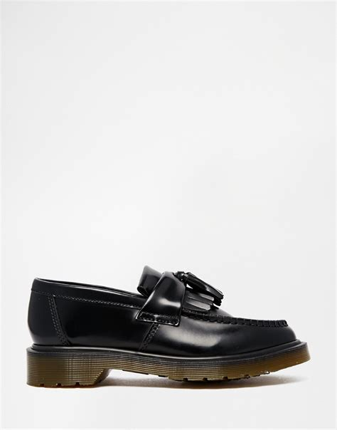 flat loafer lyst dr martens adrian black leather tassel loafer flat