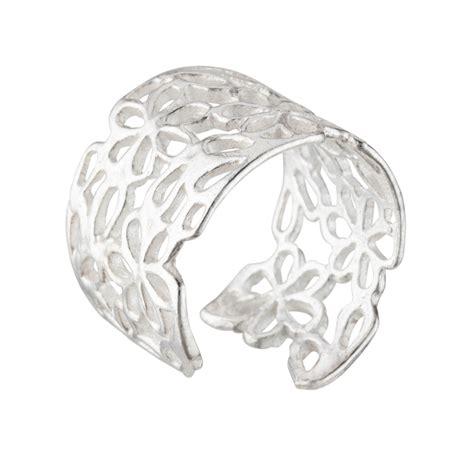 925 Sterling Silver Open Ring silverly 925 sterling silver open filigree flower
