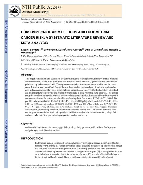 Meta Analysis Vs Review Of Literature by Consumption Of Animal Foods And Endometrial Cancer Risk A Systematic Literature Review And Meta
